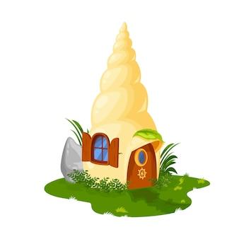 妖精の殻の家またはノームまたはドワーフとエルフの住居、ベクトル漫画の家の小屋。庭のあるドワーフノームのおとぎ話の貝殻の家、ドアと窓のある葉の避難所の家
