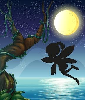 自然の中で妖精のシルエット