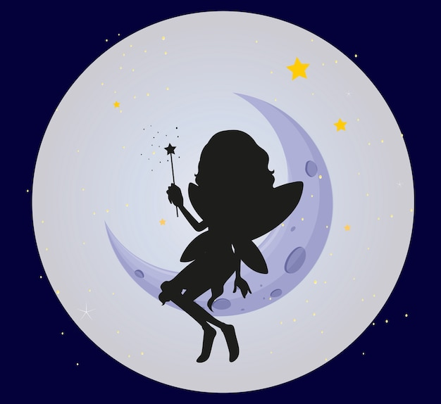 Fairy silhouette on the moon