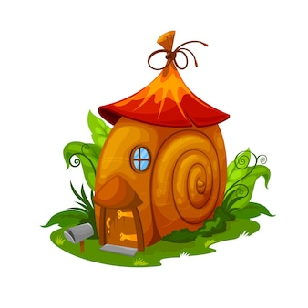 Fairy snail house, gnome and elf dwelling. cartoon vector fairy home in cochlea spiral shell placed on green field with bushes and grass. cute fantasy building with wooden door, window and mailbox