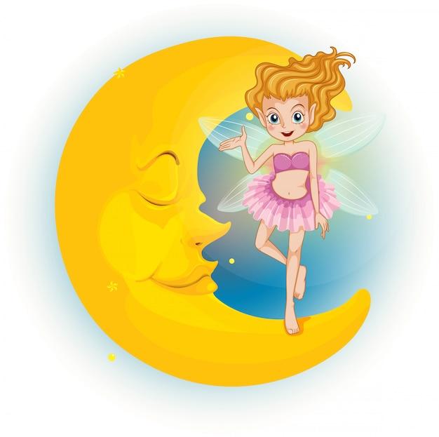 A fairy standing on a sleeping half moon