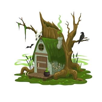 妖精の沼の家や魔法使いや悪の住居。深い沼の木製の支柱、ドアに大釜、屋根に頭蓋骨、蒸しパイプを備えたおとぎ話の小屋に構築する漫画のベクトル。孤立したファンタジーファゴットの家