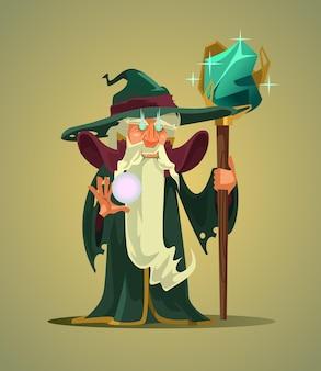 페어리 테일 늙은 마법사 마술사 남자 캐릭터 들고 마술 지팡이