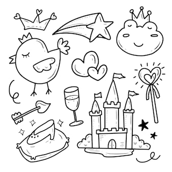 Fairy tail princess and castle icon collection set sticker