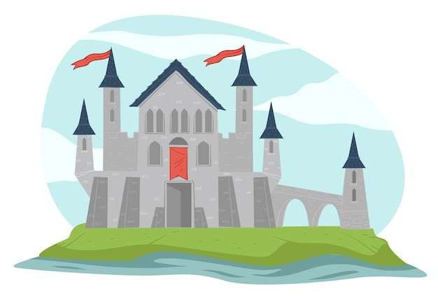 Fairy tale architecture or medieval sight. isolated fortress with tall towers and flags of kingdom. mansion or dwelling of queen and king. fortification made of rough stone. vector in flat style
