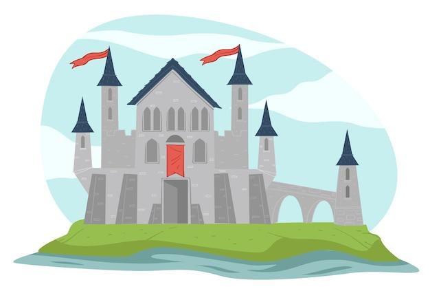 동화 건축 또는 중세 광경. 높은 타워와 왕국의 깃발이 있는 고립된 요새. 여왕과 왕의 저택 또는 거주지. 거친 돌로 만든 요새. 평면 스타일의 벡터