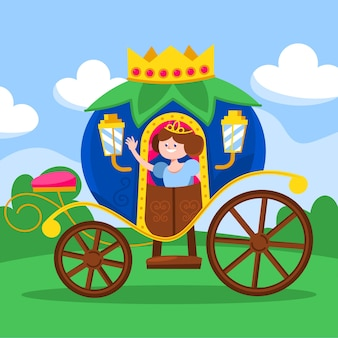 Fairy tale carriage with princess