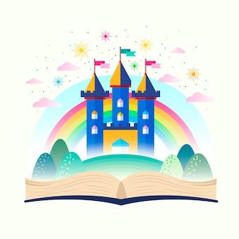 Fairy tale castle in rainbow