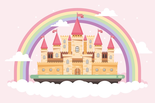 Fairy tale castle with clouds and rainbow