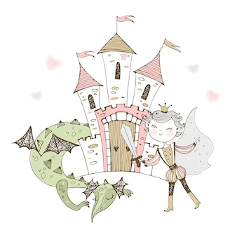 A fairy-tale castle with a prince and a dragon.