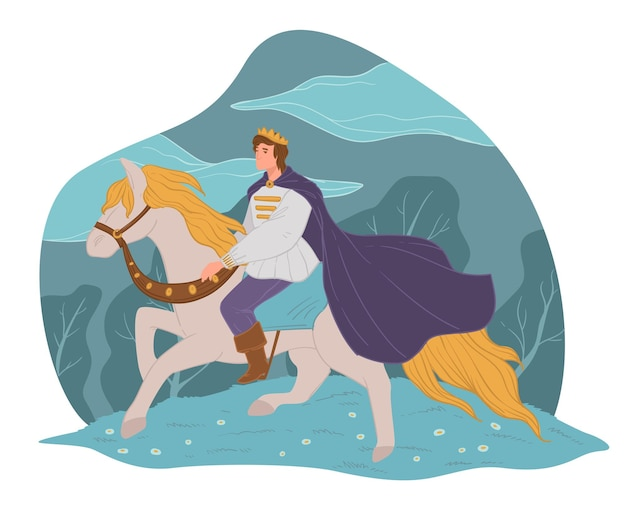 Fairy tale character, prince charming riding on white horse. male personage with cape and crown, fantasy man horseback