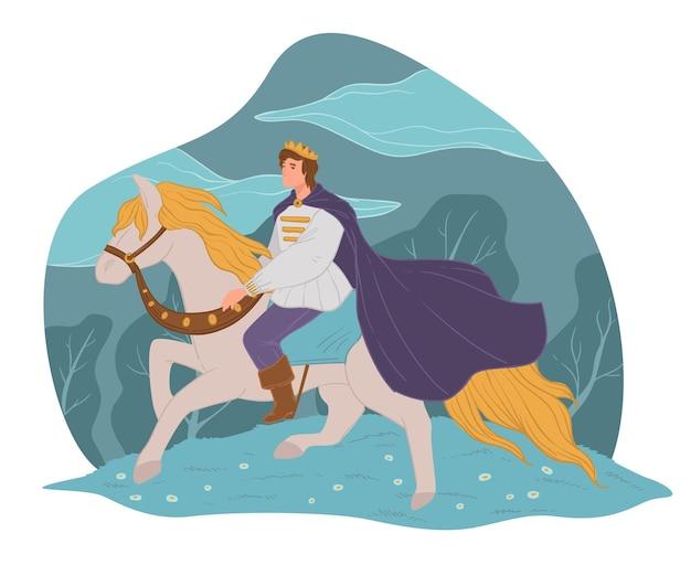 동화 속 인물, 백마를 탄 왕자. 망토와 왕관을 쓴 남성 인물, 환상의 남자 말을 타고 있습니다. 꿈이나 마법의 왕국. 귀족이나 영웅, 낭만적 인 사람. 평면 스타일의 벡터