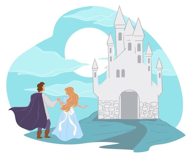 동화 속 캐릭터와 높은 탑이 있는 환상의 성. 아이들을 위한 이야기의 해피엔딩. 왕자의 왕국. 소년과 사랑에 행복 한 공주입니다. 남자와 여자를 요새로 껴안고 있습니다. 평면 스타일의 벡터