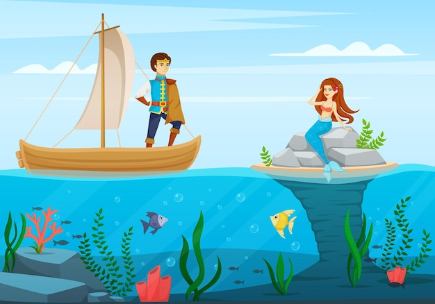 Fairy tale characters cartoon composition a scene from cartoon with the prince and the mermaid illustration