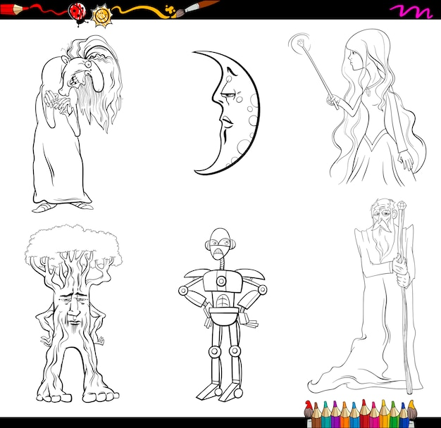 Fairy tale characters coloring page