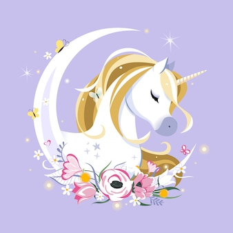 Fairy tale composition with unicorn, stars and moon crescent on pastel space. festive space or greeting card. pastel goth palette. cute girly art.
