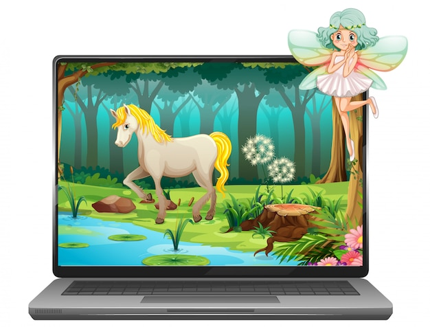 Fairy tale on computer background