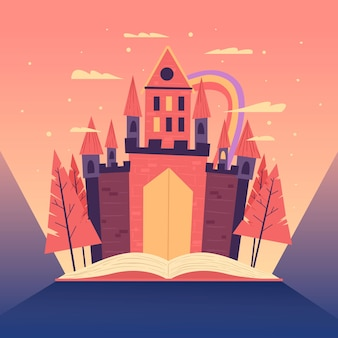 Fairy tale concept with castle and rainbow