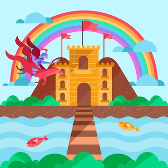 Fairy tale concept with castle