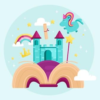 Fairy tale concept with unicorn