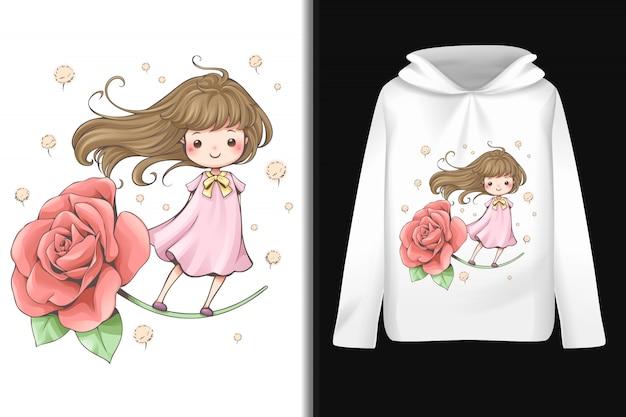 Fairy tale flower pattern on long-sleeved hoodie