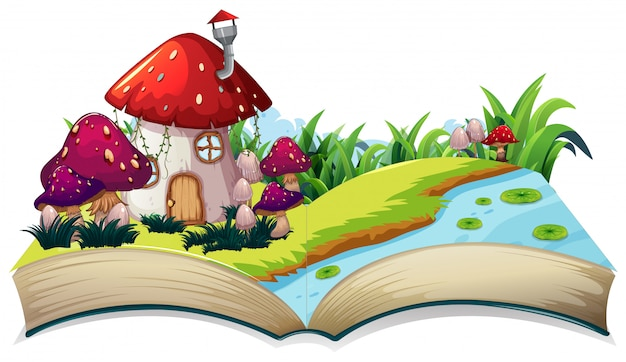 A fairy tale house on open book