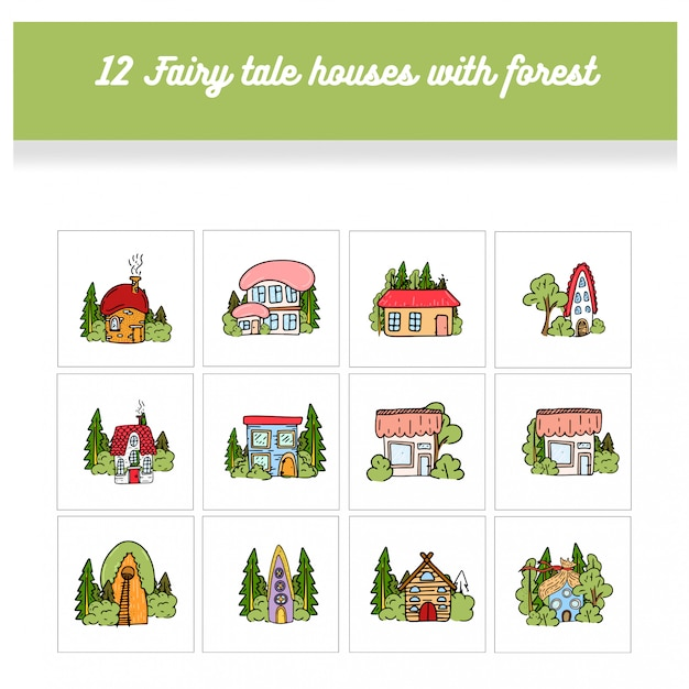 Fairy tale houses in forests