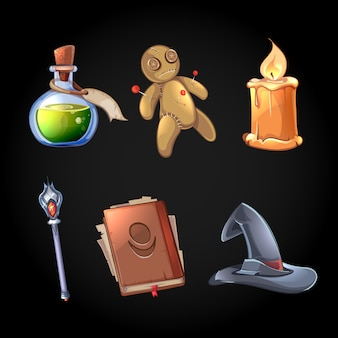 漫画風のおとぎ話の魔法のクリップアート。魔術とファンタジー、毒と杖、魔術師の道具