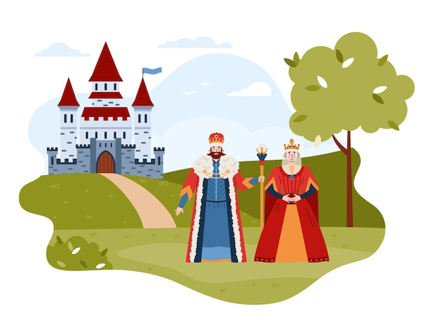 동화 중세 왕과 여왕 평면 벡터 일러스트 절연