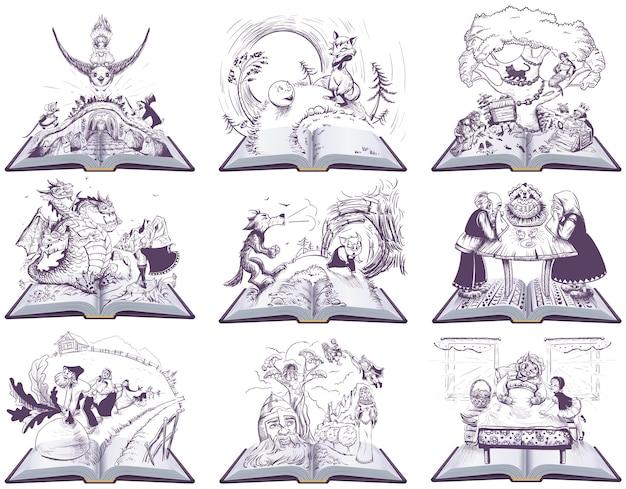 おとぎ話の開いた本のイラスト。図面のセット。白で隔離