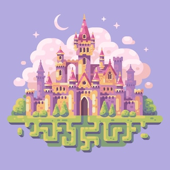 Fairy tale princess castle flat illustration. Fantasy landscape background