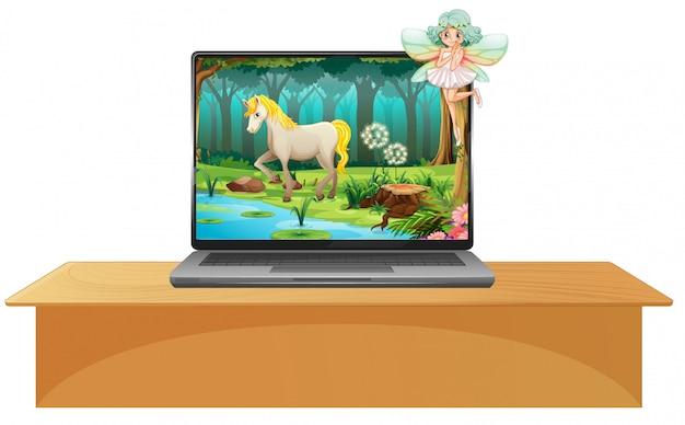 Fairy tale scene on laptop screen