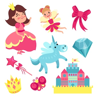 Fairy tale set, little princess and fairy with unicorn, castle and magic elements   illustrations