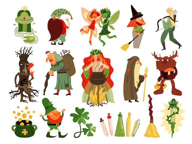 Fairy tale set of mythology and folklore  cartoon characters living in forest