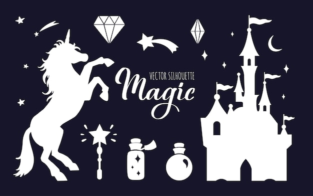 Fairy tale  silhouette collection with unicorn and castle