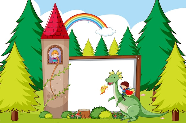 Fairy tale template with forest and blank banner