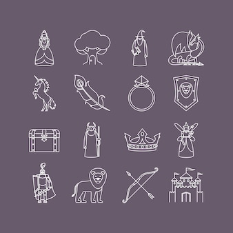 Fairy tale thin line icon set