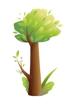 흰색으로 분리된 동화 나무, 녹색 무성한 왕관 풀과 잎이 있는 아이들을 위해 손으로 그린 큰 트렁크 나무. 어린이 위한 수채화 스타일 그라디언트에서 손으로 그린 벡터 일러스트 레이 션.