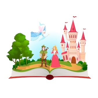 Fairy tales book. fantasy tale characters, magic life library. open book with fantasy kingdom castle.