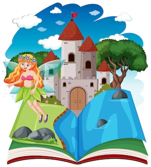 Fairy tales and castle tower on pop up book cartoon style on white background
