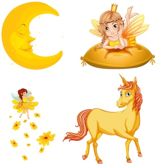 Fairy tales characters and moon illustration