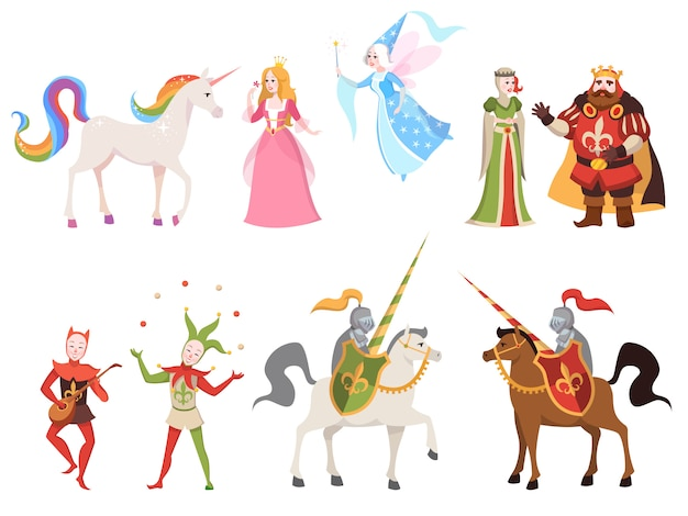 Fairy tales characters. wizard knight queen king princess prince medieval fairy castle dragon magic set cartoon,  illustration