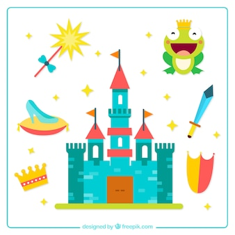 Fairy tales elements in flat design