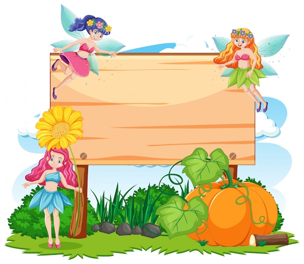 Fairy tales in garden with blank banner cartoon style on white background