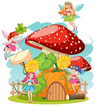 흰색 배경에 동화 holiding 꽃과 버섯 집 만화 스타일
