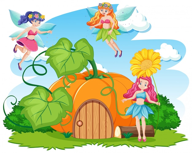 Fairy tales and pumpkin house cartoon style on white background