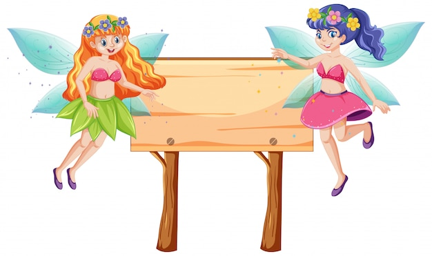 Fairy tales with blank banner wood cartoon style on white background