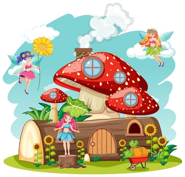 Fiabe con funghi e casa in legno isolato in stile cartone animato su sfondo bianco