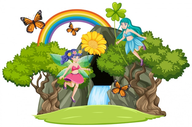 Fairy tales with waterfall cave and rainbow isolated on white background