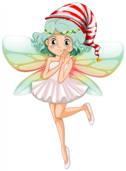 Fairy wearing party hat for christmas